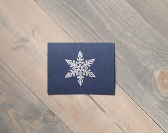 Winter stationery, Snowflake cards, Happy Holidays cards, Block printed snowflake, Silver and navy