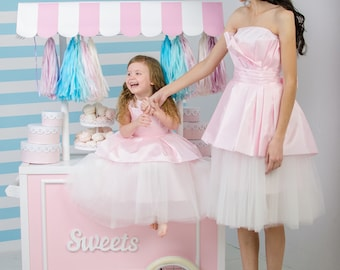 Pink mother daughter matching dresses Girls Tutu dress, full skirt, party lace dress, birthday first communion  strapless dress Mommy and Me