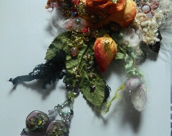 Necklace autumnal warm tone, antique lace, sculpted roses, Murano, crystals, beaded necklace, embroidered necklace