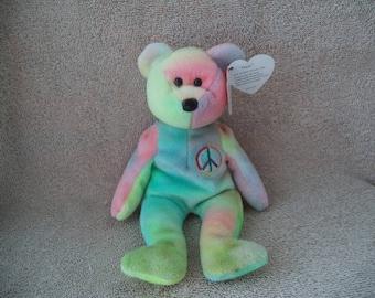 Ty Beanie Babie , Peace bear  , Unique sewing error ,Peace bear , Ty  Bear