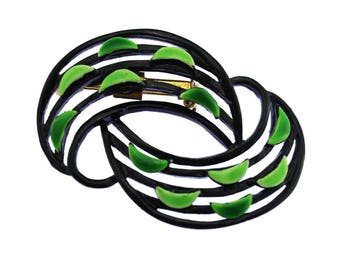 Vintage Black Enamel Brooch, Black and Green Enamel Brooch, Black Swirl Brooch