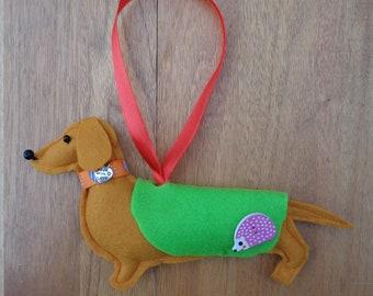 Handmade ginger-tan felt Dachshund, Sausage dog hanging decoration