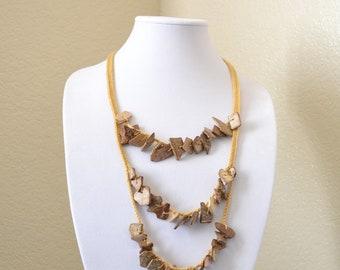 Rustic crochet statement necklace