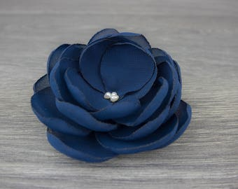 Navy Blue Hair Flower on Brooch, Hair Clip, Bobby Pin or Hair Comb - Wedding - Bridal - Bridesmaids - Flower Girls - Fabric