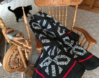 Black, White, Red Throw Quilt