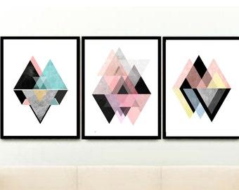 Modern Wall Art, Triptych, Geometric Wall Art, Set of 3 Prints, Scandinavian Design, Abstract Art Print, Giclee prints, Wall Art,
