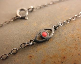 Le mal noir bracelet oeil avec une touche d'émail - oxydé mauvais œil bracelet - 925 argent sterling massif-