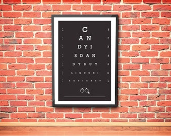 Eye Chart Print - Candy is Dandy - Typography - Bar Art - Quote - Foodie Gift - Funny Quote - Liquor