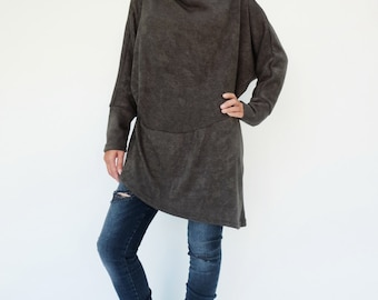 NO.182 Charcoal Grey Knitted Batwing Sleeves Sweater, Cowl Neck Tunic, Women's Sweater
