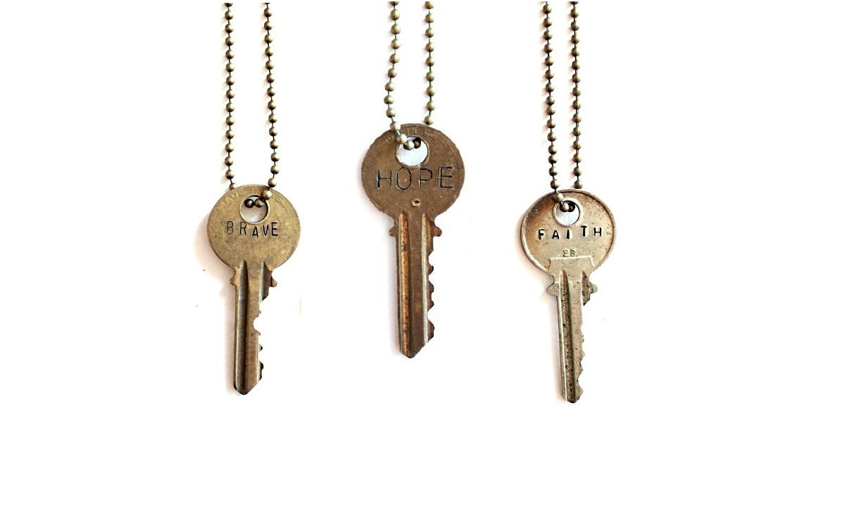 Vintage Key Necklace . word necklace . vintage keys . word