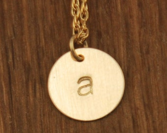 Gold Initial Circle Necklace - Disc Charm - Custom Personalized Brushed - Small Tiny Dainty Disk Chain Modern Letter Necklace