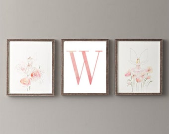 Letter W | Nursery Print | Nursery Art | Alphabet | Instant Download | Digital Print | Wall Art | Baby Girl | Initials | Pink | Watercolor