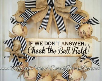 Baseball Wreath with burlap bow and monogram - Made with REAL balls!!! Softball and Baseball decor - Front Door Wreath - MLB - Coach's Gift