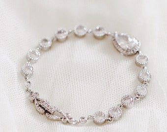 Crystal Bridal Bracelet Crystal Wedding Bracelet Silver Teardrop CZ Bracelet Bridal Jewelry Wedding Jewelry For Brides