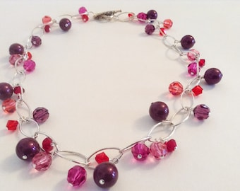 Silver Chain Red Fuschia Pink Purple Multicolored Swarovski Crystal Beads and Pearl Statement Necklace---Sparkler II---By Lady Grey Beads