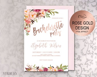 Bachelorette Party Invitation Printable Template, Blush Rose Gold Floral Party Invite, DIY PDF Instant Download VRD164SDR