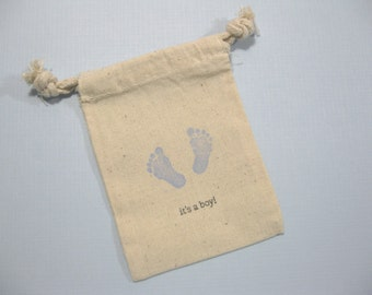 set of 10  baby shower muslin favor bags 3.5 inch by 5 inch - its's a boy bags - little baby foot prints - gift bags - blue favor bags