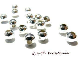 Set of 50 spacer beads 8mm bright silver colored metal