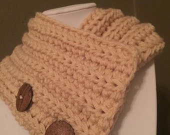 CR-COWL-2016-0001050 - Crisp, Clean, Tan Cowl with Wooden Buttons