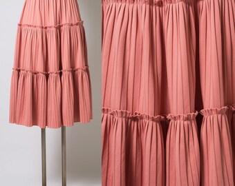 Vintage skirt, Vintage Pink Skirt, Vintage Mauve Pink skirt, 70s Skirt, VIntage tier skirt, Midi skirt, Summer Skirt, Spring Skirt - XS/S