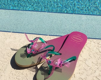 Havaianas Ladies Embellished Flip Flops NEW SIZE 9/10 Euro 41/42 Ombre
