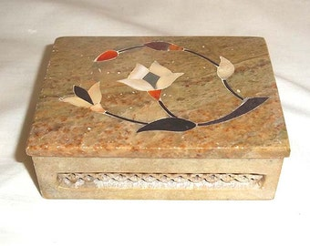 Vintage Hand Made Intricate Marble Trinket Box with Inlaid Semiprecious Stones From India