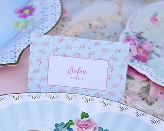 Tea Party Par-TEA Liberty Print Floral Place Cards, Food Name Cards CUSTOM PDF Printable Digital File Girls, Baby Shower, Bridal, Birthday,