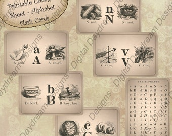 Instant Download Printable Flash Cards Collage Sheet - Just a Tad Smaller than ATC ACEO Size 2.35 x 3.35 size - Victorian A to Z Flash Cards