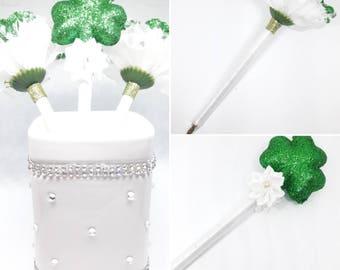 3 Handmade St. Patrick's Day Green Glitter Flower Pen Bouquet - Flower Party Favor - Guestbook pen