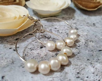 Sterling Silver hoops cream white freshwater pearls #1041