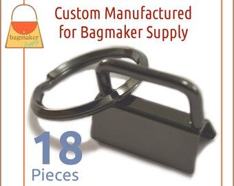 1 Inch Deluxe Key Fob Hardware, Shiny Gun Metal Finish, 18 Sets, Gunmetal Purse Handbag Hardware Jewelry Supply, KRA-AA013