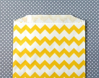 SALE: Yellow Chevron Goody Bags / Favor Bags / Treat Bags (20) - 5 x 7.5 inches - Midi Size