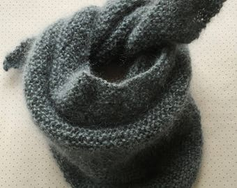 Blue grey mohair triangle shawl