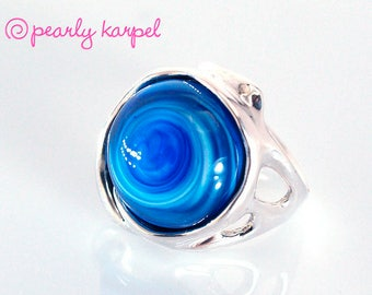 Silver Sterling 925 Ring - Circle Ring - Unique Blue ring -Lampwork Jewelry - Glass Bead Jewelry - Beadwork Jewelry - Beaded Jewelry- gift