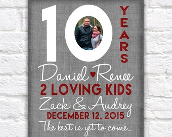 10th Wedding Anniversary Gift, 10 Year Anniversaries, Customized Gift with Photo, Kid Name, Countdown, Time together, Gifts for Men, | WF310