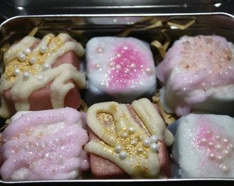 Bath Truffles, Limited Edition, Bath Melts, Bath Fizzies, Cocoa Butter, Bath Bombs, Bath Melts, gift set, Set of 6 in tin box