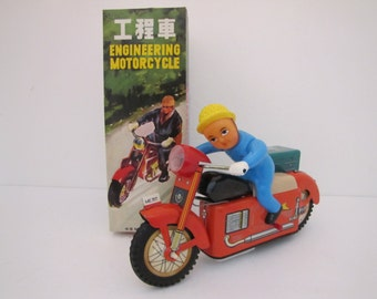 Vintage Battery Operated Engineering Motorcycle Tin Toy (Hong Kong) ME 707