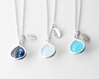 Crystal necklace - Teardrop necklace - bridesmaid gift - Blue crystal necklace