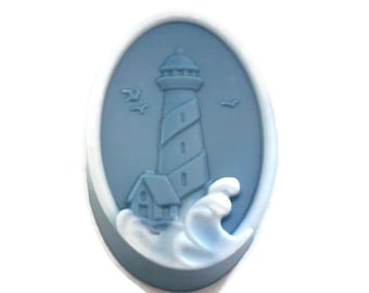 Lighthouse Oval Bar Soap | One Soap | Ocean Themed Soap | Sea Soap | Nautical Themed Soap | Gift for Her | Gift for Him | Detergent Free