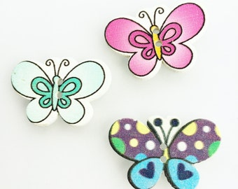 Butterfly Green, Pink, Aqua Blue Button - Craft Buttons - Turquoise Buttons - Butterflies Woodend Buttons - Pink Butterfly Mixed Buttons