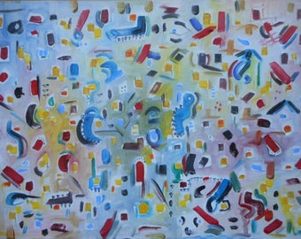 """Original Abstract Oil Painting by Nalan Laluk: """"Busy Day"""""""