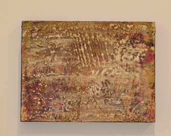 Heart of gold, abstract painting, encaustics painting, modern painting, original painting
