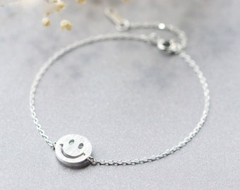 Smile Emoji Sterling Silver Bracelet, Smiley Face Bracelet, Smiley Bracelet, Emoticon Bracelet, Happy Face Bracelet, Friendship Bracelet