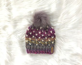 Kids Multi Color Cream Fair Isle Hearts Hat / Knit Winter Hat / Beanie / Faux Fur Pom Pom