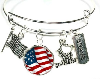 Military Bracelet, Army, Navy, Air Force, Marines, United States of America, Soldier Bracelet, Charm Bracelet,
