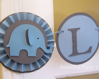 Blue and Grey It's a Boy | Baby Elephant Banner | Elephant Baby Shower Decorations | Custom Name Banner |1st birthday boy decoration
