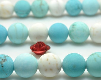 47 pcs of Mixed color Turquoise matte round beads in 8 mm(06768#)