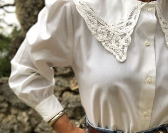 vintage french provencal pilgrim style sailor collar cotton blouse s-m