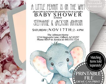 Elephant Baby Shower Invitation, Baby Shower Invite Elephant, Elephant Baby Shower Invite Template, Baby Shower Elephant Invitations Girl
