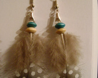 Earrings feather fowl